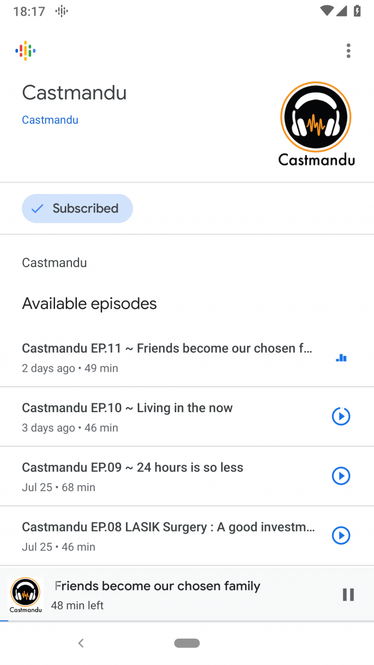 Castmandu Google Podcasts page